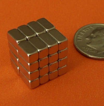 Neodymium Magnets N42 Block 1/4 in x 1/8 in x 1/8 in