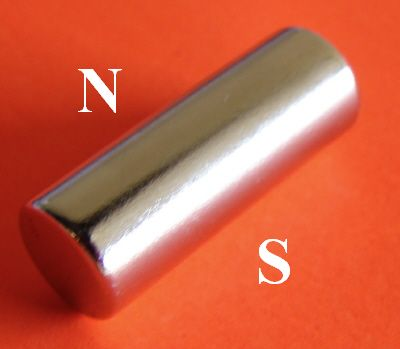 Diametrically Magnetized N50 Neodymium Magnet 1/4 in x 1/2 in Cylinder