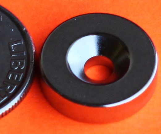N45 Neodymium Magnets 1/2 in x 1/4 in Disc Dual Countersunk Hole