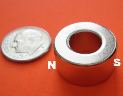 NdFeB N48 Diametrically Magnetized Ring 1/2 in OD x 1/4 in ID x 1/4 in