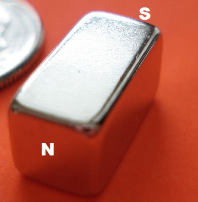 N52 Strong Neodymium Rare Earth Magnet 1/4 in x 1/4 in x 1/2 in Block