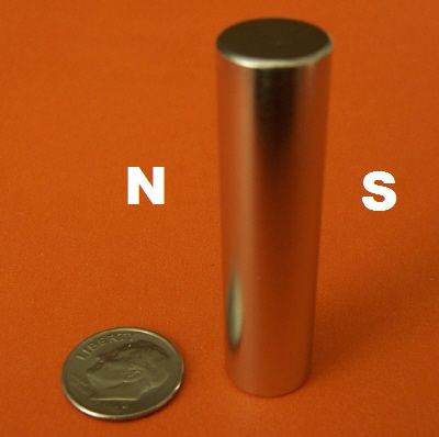 N45 Diametrically Magnetized Neodymium Magnets 1/2 in x 2 in Cylinder
