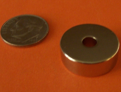 Rare Earth Magnets N45 3/4 in OD x 1/4 in ID x 1/4 in Neodymium Ring
