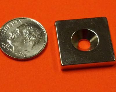 Neodymium Magnets 3/4 in x 3/4 in x 1/8 in Countersunk Hole #8