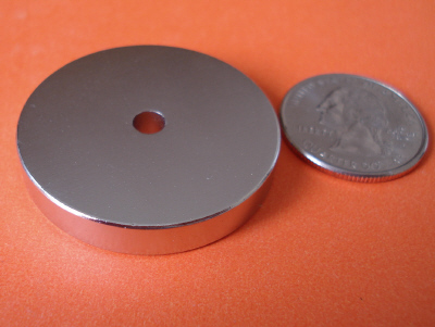 N42 Neodymium Magnets 1.5 in x 1/4 in Disc w/1/4 in Hole