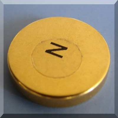 Therapy Magnets 1 in x 1/8 in Gold Coated North Labeled Neodymium Disc