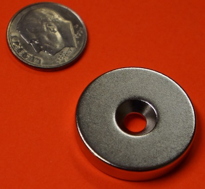 Rare Earth Magnets 1 in x 3/16 in w/Countersunk Hole Neodymium Disk