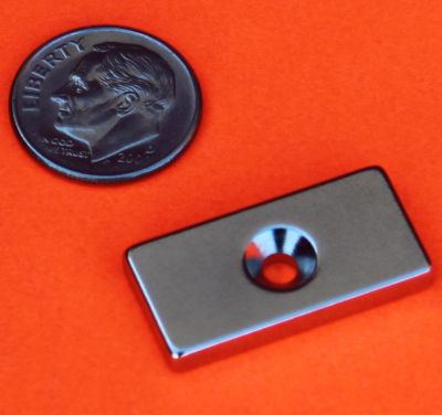 Neodymuim N45 Bar Magnet 1 in x 1/2 in x 1/8 in w/Countersunk Hole