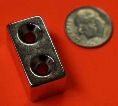 Neodymium Magnets 1 in x 1/2 in x 1/2 in w/2 Countersunk Holes NdFeB Block
