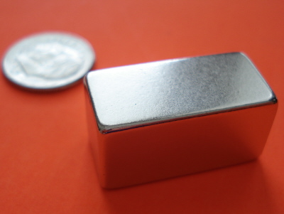 Rare Earth Magnets 1 in x 1/2 in x 1/2 in Neodymium Block N42