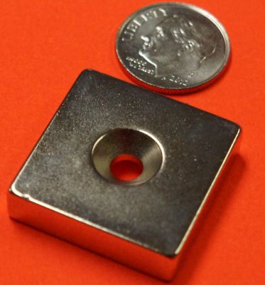 Neodymium Magnet 1 in x 1 in x 1/4 in w/#8 Dual Sided Countersunk Hole