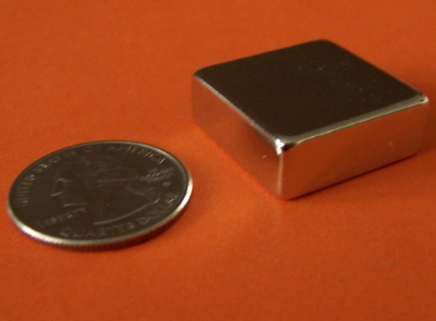 Neodymium N50 Magnets 1 in x 1 in x 3/8 in NdFeB Block