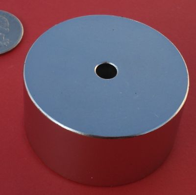 Rare Earth Magnets 2 in x 1 in with 1/4 in Hole Neodymium Disc N42