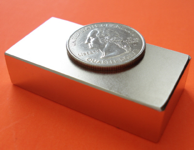 Neodymium Rare Earth Magnets 2 in x 1 in x 1/2 in Block N42