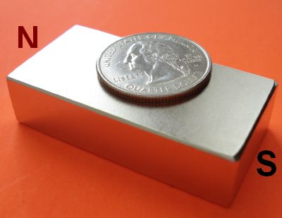 1 in x 1/2 in x 2 in Magnetized through 2 inch Neodymium Magnets N42