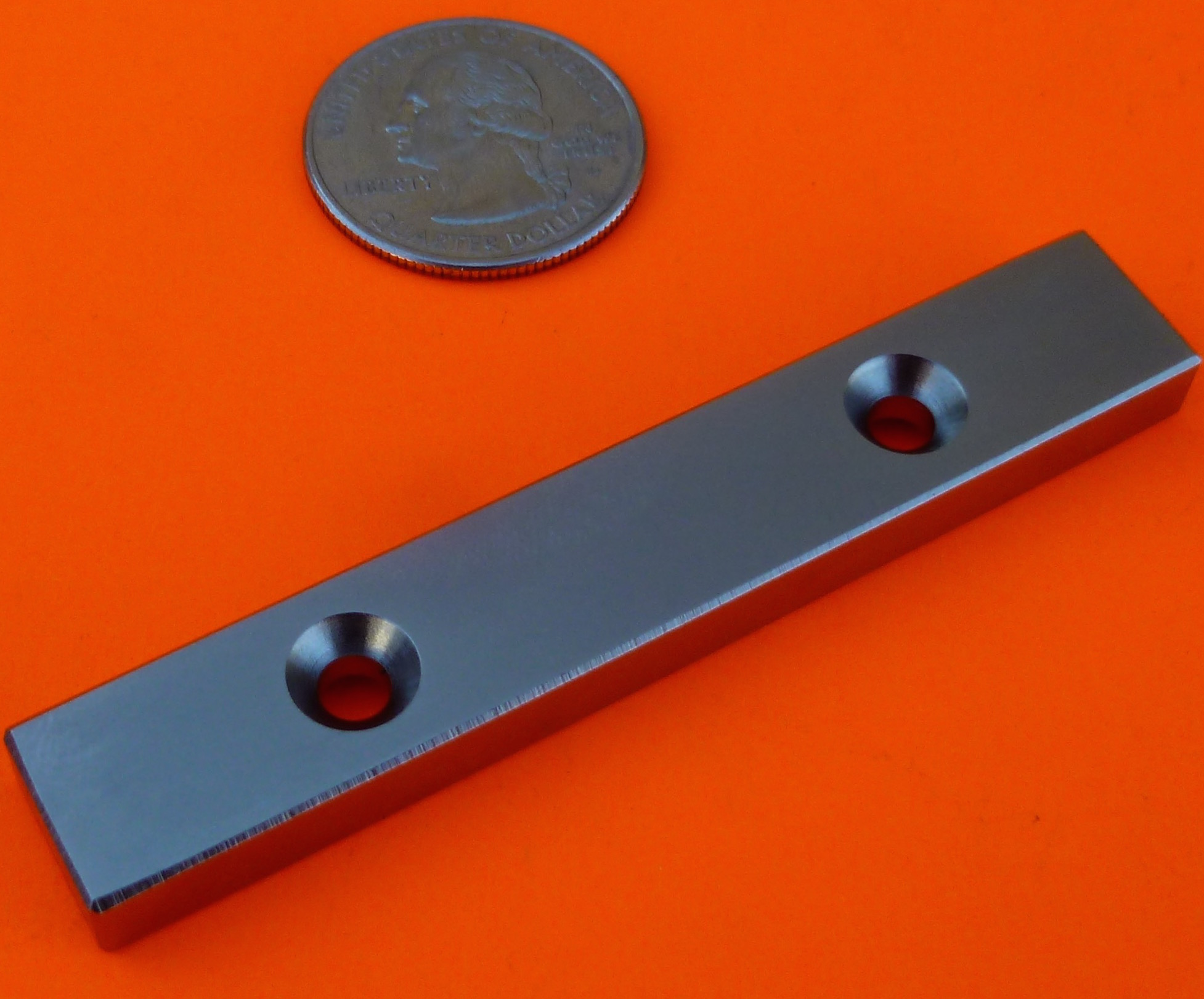 N48 Neodymium Magnets 3 in x 1/2 in x 1/4 in with 2 Countersunk Holes