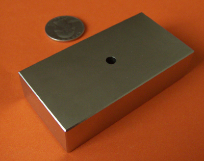 Rare Earth Magnets 3 in x 1.5 in x 3/4 in Block with Hole