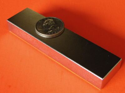 Rare Earth Magnets 4 in x 1 in x 1/2 in Block Neodymium N42