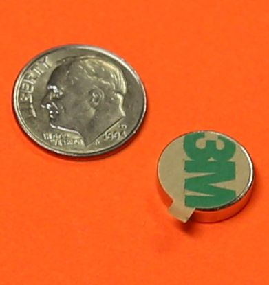 Strong Neodymium Disc Magnet w/Clear Adhesive Tab 3/8 in x 1/16 in