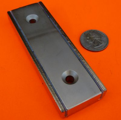 4 in X 1.3 in X 1/2 in Channel Magnet-Rectangular Cup Magnet W/2 Countersunk Holes