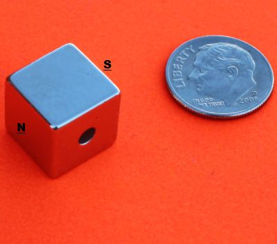 N52 1/2 Inch Cube w/hole perpendicular to Magnetized Neodymium Magnets
