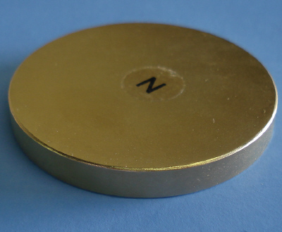 Strong Neodymium Therapy Magnets Gold Coated 2 in x 1/4 in Disc
