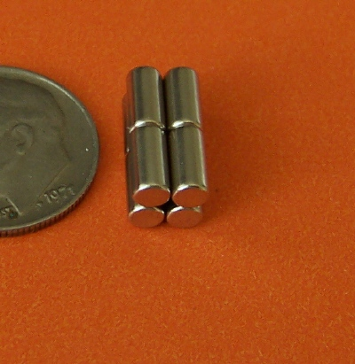 Rare Earth Magnets 1/8 in x 1/4 in Neodymium Cylinder N42