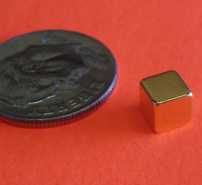 Neodymium Cube Gold Coated 3/16 in Rare Earth Magnets N42