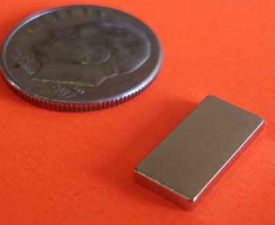 N45 Rare Earth Magnets 1/2 in x 1/4 in x 1/16 in Neodymium Block