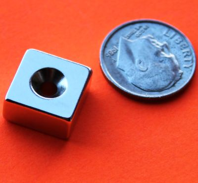 Neodymium Magnets 1/2 in x 1/2 in x 1/4 in w/Dual Sided Countersunk Hole