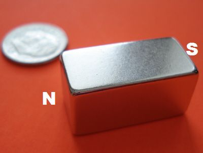 Neodymium Rare Earth Magnets 1/2 in x 1/2 in x 1 in Block N42