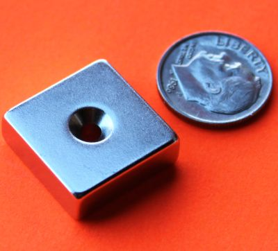 Neodymium Magnets 3/4 in x 3/4 in x 1/4 in Dual Sided Countersunk Hole