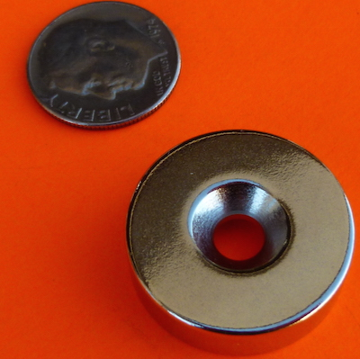 Countersunk Neodymium Magnets 7/8 in x 1/4 in N42 w/Dual Sided #8 Hole