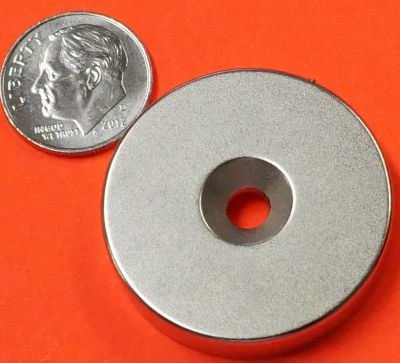 N52 Neodymium Magnets 1.26 in x 1/4 in Disk w/Dual Sided Countersunk Hole