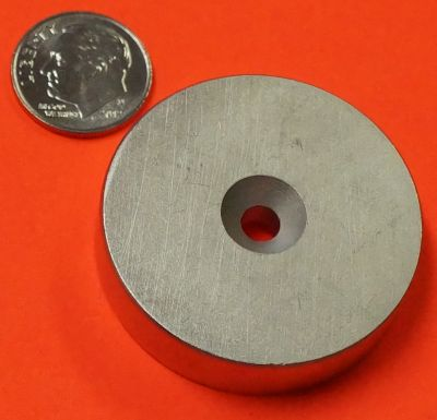 N52 Neodymium Magnets 1.5 in x 3/8 in w/Dual Sided Countersunk Hole Disc