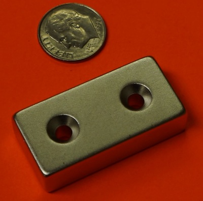 Neodymium Magnets 1.5 in x 3/4 in x 3/8 in w/2 Countersunk Holes NdFeB