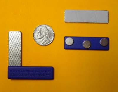 Magnetic Badge Holders Blue Plastic w/3 Neo Magnets, Plate w/Adhesive