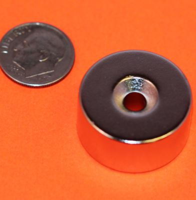 Neodymium Magnets 1 in x 1/2 in Disc Dual Sided Countersunk Hole