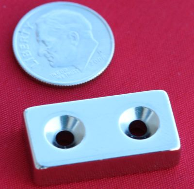 Neodymium Magnets 1 in x 1/2 in x 1/4 in Bar w/2 Dual Sided Countersunk Holes