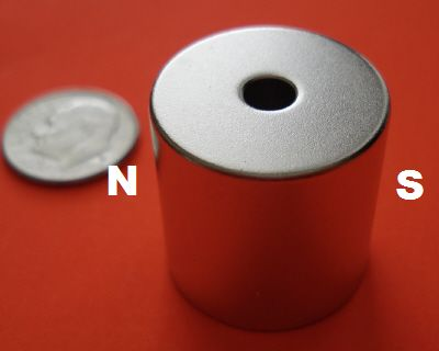 Diametrically Magnetized 3/4 in x 3/4 in Cylinder w/Hole Neo Magnets
