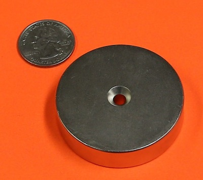 2 in x 1/2 in Disc w/#8 Dual Sided Countersunk Hole Neodymium Magnets