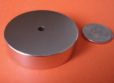 Neodymium Magnets 2 in x 1/2 in Disc with 3/16 in Hole Rare Earth