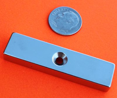 N42 Neodymium Magnet 2 in x 1/2 in x 1/4 in Dual Side Countersunk Hole