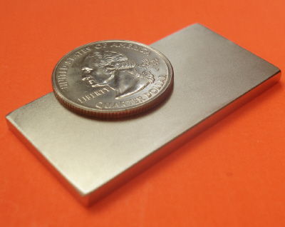 N45 Rare Earth Magnets Neodymium Block 2 in x 1 in x 1/8 in