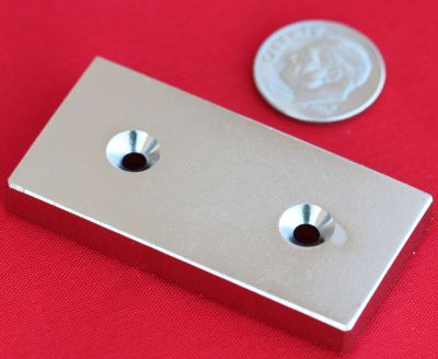 N48 Neodymium Magnets 2 in x 1 in x 1/4 in Bar w/2 Countersunk Holes