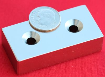 N50 Neodymium Magnets 2 in x 1 in x 1/2 in Bar w/2 Countersunk Holes