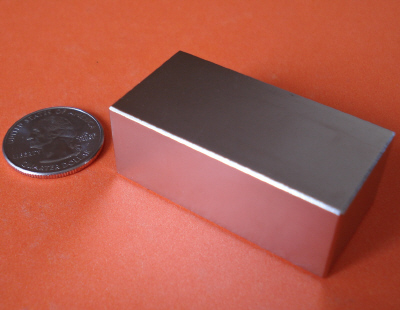 Rare Earth Magnets 2 in  x 1 in x 3/4 in Neodymium Block N42