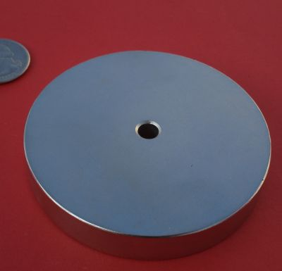 Neodymium Magnets 3 in x 1/2 in with 1/4 in Hole Disc Strong N42