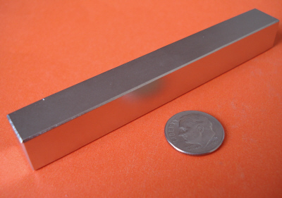 N48 Neodymium Magnets 4 in x 1/2 in x 1/2 in Block