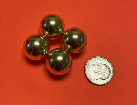 Strong Sphere Magnets 5/8 in Diameter Gold Coated Rare Earth Ball